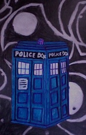 Tardis 5x8 Acrylic on Paper By Kelsey Cleland